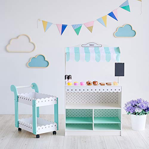 Teamson Kids - My Dream Wooden Play Bakery Stand Shop Dessert Stand Pretend Play with 18 Pieces Accessories for Kids 3 4 5 Years Old Boys Girls - White / Petrol