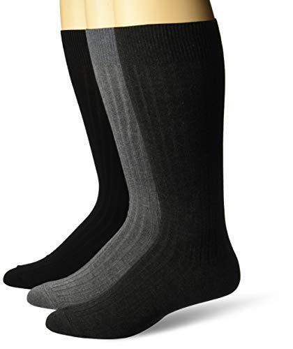 Amazon Brand - Buttoned Down Men's 3-Pack Premium Ribbed Soft Dress Socks, Black/Charcoal/Grey, Shoe Size: 8-12