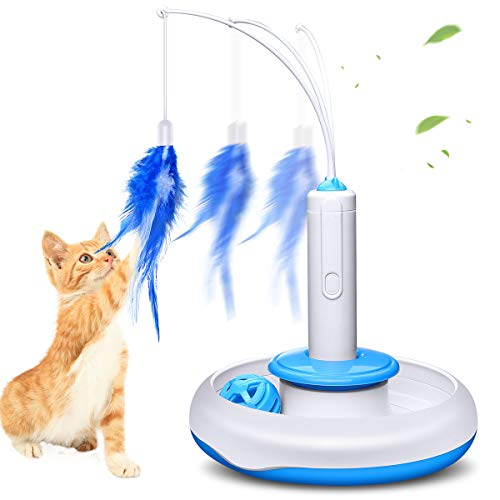 isYoung Cat Teasing Toy, Electric Mute Training Cat Toy Kitten Rotating Teaser...