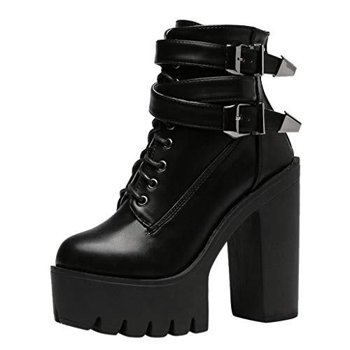 Botines de Tacón Alto con Plataforma Zapatos de Tacón de 12 cm...