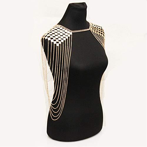 Damen-Schal-Körper-Ketten-Halsketten-Bikini-Strand-Körper-Ketten-hängende Pyjama-Kette,Gold