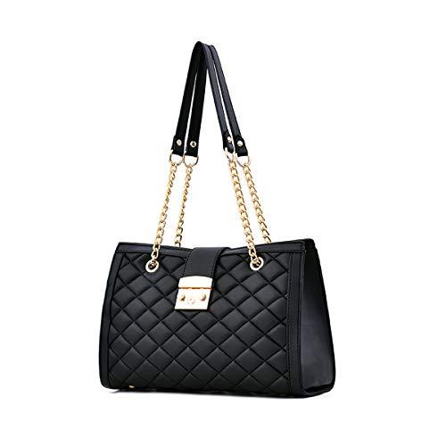 NICOLE & DORIS Damen handtaschen Umhängetasche Handtasche mit Kett Trending Handtaschen für Damen Mode Lingge Kette Tasche Schwarz