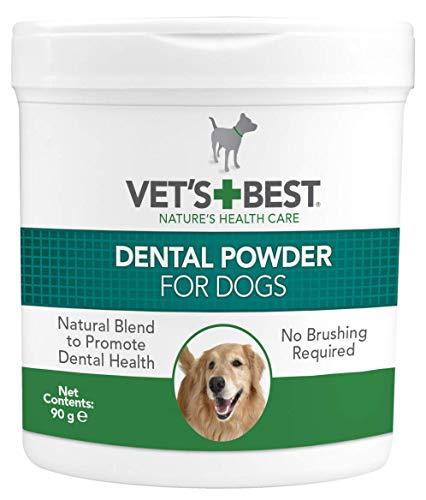 Vet\'s Best Polvo Dental Natural | Plaque & Tarter Remover para perros | Dientes limpios y aliento fresco - 90g