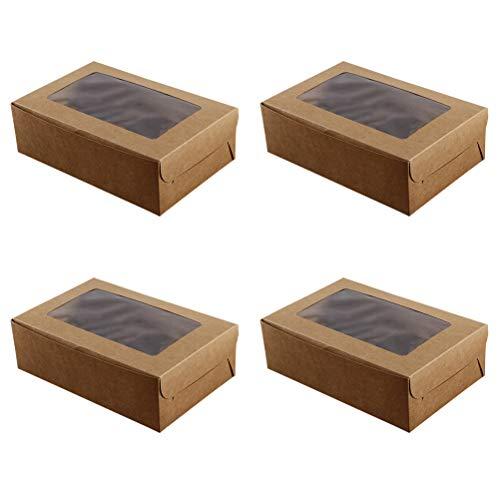 BESTONZON 10 piezas 6 cavidades de papel kraft Cupcake caja de postre contenedores de pasteles con ventana Insertar para el hogar de la tienda de postres