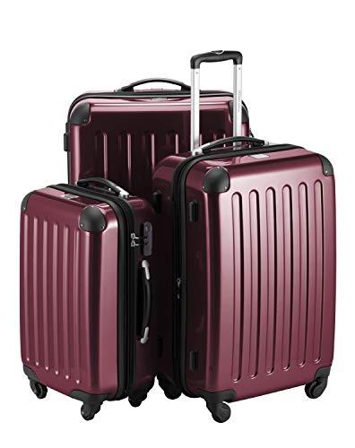 HAUPTSTADTKOFFER - Alex - 3er Koffer-Set Trolley-Set Rollkoffer Reisekoffer Erweiterbar,  4 Rollen, (S, M & L), Burgund