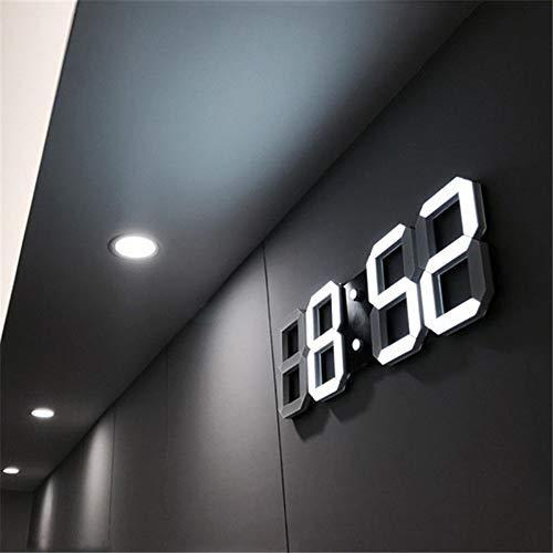TreeLeaff - Reloj de pared digital LED grande con diseño 3D, números más grandes, reloj despertador para dormitorio, escritorio, reloj despertador para colgar en la pared
