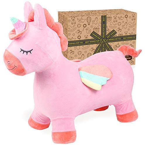 Toyssa Unicornio Saltador Caballo Saltador para Niños Hinchable Animal Saltador Juguete Exterior e Interior Caballo para Saltar con Bomba Regalo para niños niñas 2 3 4 5 6 7 años