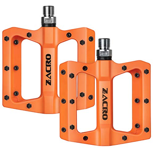 Zacro FahrradPedale, Neue Nylon Stoff rutschfest Langlebig Mountainbike Pedal 9/16 Zoll, Cr-Mo Stahlspindel, Geeignet für BMX, MTB und Andere Fahrräder, Orange