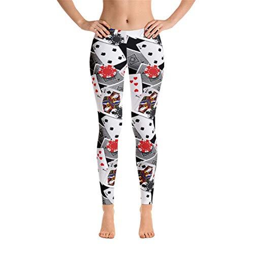 Mallas de Deporte de Mujer, Tarjeta de reproducción para mujer Impresiones Pantalones de yoga flaca 4 vías Estiramiento 7/8-Longitud Deportes Leggings Entrenamiento Correr Medias Pantalones largos Pan