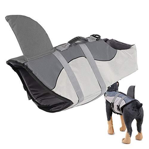 SALUTUYA Chaleco Salvavidas Incorporado de la Esponja Chaleco Salvavidas del diseño de la Esponja, Chaleco de la Seguridad del Animal doméstico para la(JSY03 Gray, L)