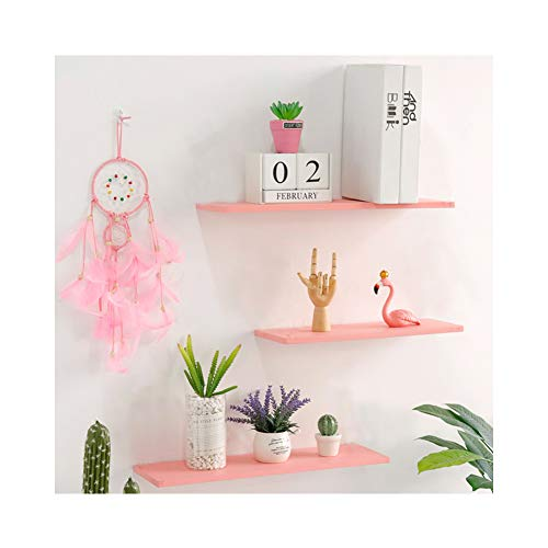 YOYAI Leather Strap Wood Floating Wall Shelf Wooden Shleves Wall Organizer Wall Mount Shelf Home Decor Kitchen Living Room Bedroom(Pink Set of 2)