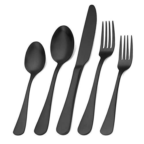 Matte Black Silverware Set, Satin Finish 20-Piece Stainless Steel Flatware Set,Kitchen Utensil Set Service for 4,Tableware Cutlery Set for Home and Restaurant, Dishwasher Safe