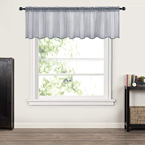MIULEE Window Valance Half Window Sheer Curtains Rod Pocket Semitranslucent Voile Drapes Extra Wide for Small Window Kitchen Cafe One Panel 60 x 18 Inch Dark Grey