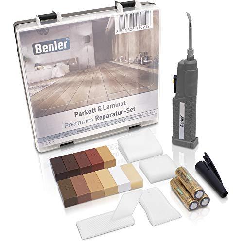 BENLER® NEU! - Holz Reparaturset mit 2in1 Wachsschmelzer für Laminat, Parkett & Vinyl - Reparatur Set, auch für PVC und Kunststoff geeignet - 19-teiliges Laminat Reparatur Kit (Holzreparatur Set)