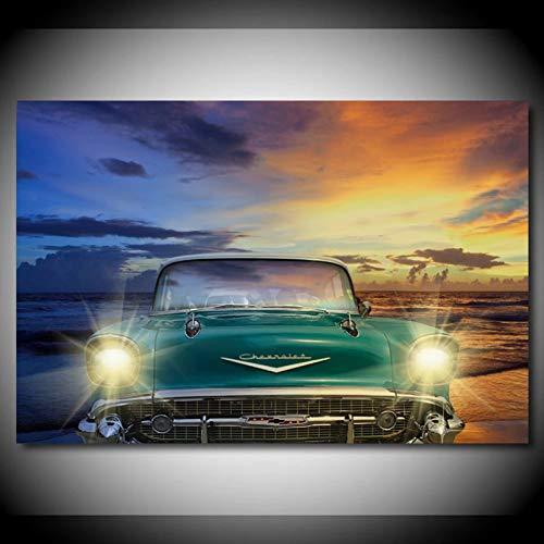 WYHAW Pintura de decoración Mural Vehículo Deportivo de Rally de Coches de Carreras e Impresiones de Lienzo, Pintura de Arte de Pared para decoración del hogar -60x80cm