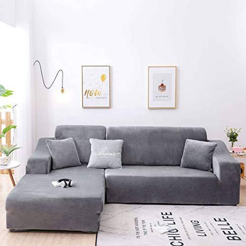 HUANXA Velvet Stretch Sofa Slipcover, Soft L Shape Sofa Cover Sofa Covers Thicken Couch Covers For 1 2 3 4 Seater Furniture Protector-Light gray-XL235-300cm(93-118in)