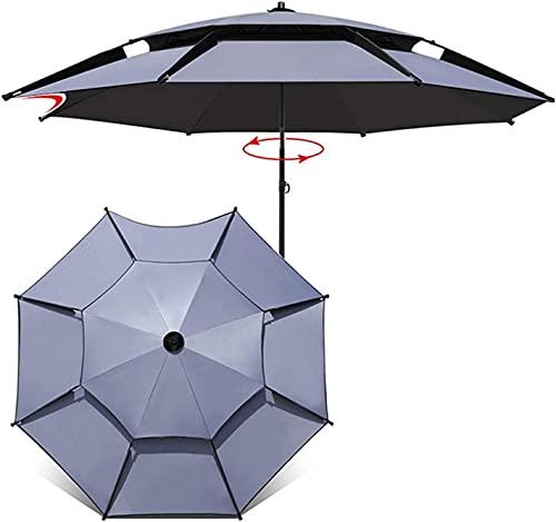 HUYEERDF Paraguas portátil de la sombrilla portátil del Paraguas de la Playa a Prueba de Viento con la Poste de Aluminio de Ancla y inclinación de la Arena, protección UV, Bolso de Transporte para la