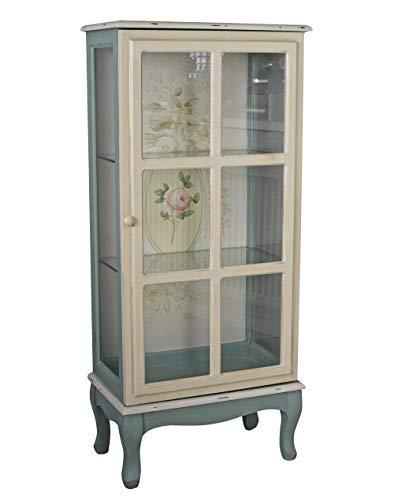 Shabby Chic Vitrinenschrank Wilde Rose Glasvitrine Blumen Regal Antik Stil frf085 Palazzo Exklusiv