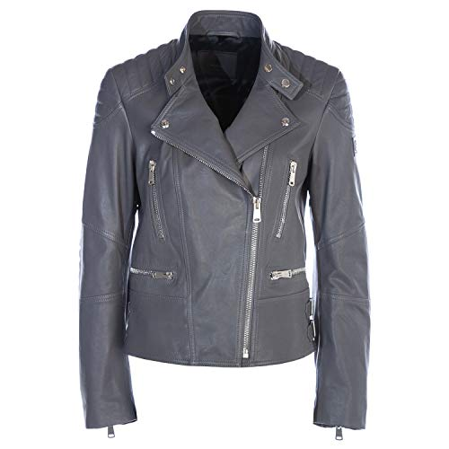Belstaff Sidney Ladies Leather Jacket in Dusk Grey