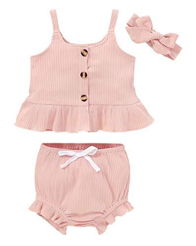 Edjude Conjunto de ropa para bebés y niñas, con volantes, camiseta sin mangas, pantalones cortos, pantalones abombados, color sólido, trajes de verano de 0 a 24 meses