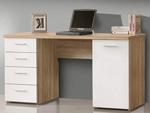 möbelando Schreibtisch Bürotisch Computertisch Arbeitstisch Laptoptisch Büromöbel Balu I Sonoma-Eiche/Uni Weiß