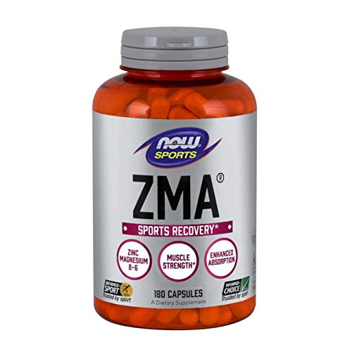 NOW Sports Nutrition, ZMA (Zinc, Magnesium and Vitamin B-6), Enhanced Absorption, Sports Recovery*, 180 Capsules