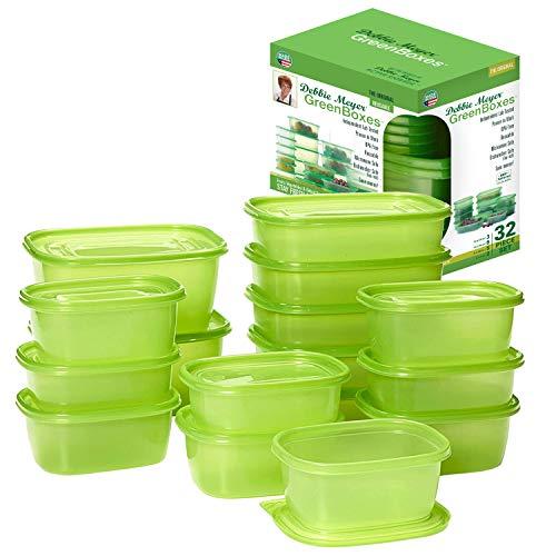 Debbie Meyer GreenBoxes 32 Piece Set – Keeps Fruits, Vegetables, Baked Goods and Snacks Fresh Longer, Reusable, BPA Free, Microwave and Dishwasher Safe, Made in USA