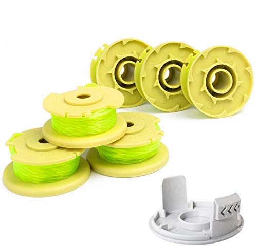 """6-Pack Durable Weed Eater String Compatible with Most Ryobi Cordless Trimmers, 0.080"""" Twisted Spool Line Plus 1 Cap"""