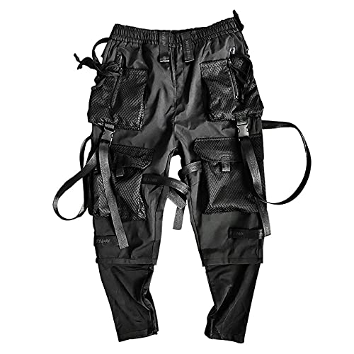 LIZONGFQ Multi-Bolsillo Monos Harajuku Hombre Casual Sweetpants Hip-Hop Streetwear Technology Pantalones Jogging Hombres,L