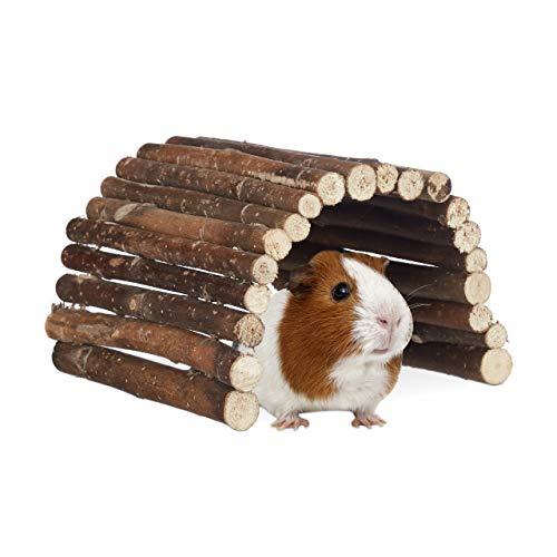 Relaxdays Nagerbrücke Holz, Tunnel für Kleintierkäfig, Hamster, Kaninchen, flexibel biegen, Schima, HBT 2x29x17cm, Natur