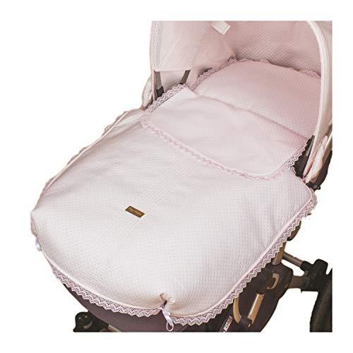 Rosy Fuentes - Cubre Capazo Universal - 2 x 50 x 60 cm - Funda para Capazo Bebé - Resistente y Duradero - Saco de Capazo - Ajuste Perfecto - Diseño Impecable - Color Blanco/Rosa