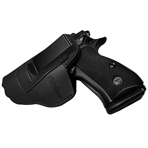 MIND&ACTION Gun Holster for Concealed Carry Leather IWB Holsters for Men Fits S&W M&P Shield Glock 17 19 26 43 Springfield XD XDS XDM Plus All Similar Sized Right Handed