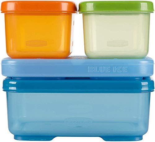 Rubbermaid LunchBlox Kids Lunch Box and Food Prep Containers, Tall, Green/Orange/Blue | Stackable & Microwave Safe
