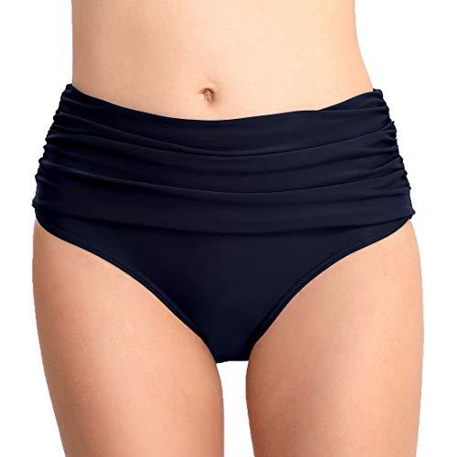 CAMLAKEE Braguita Bikini Talle Alto Mujer - Bikini Pantalon Corto Cintura Alta - Culotes de Bikinis con Fruncida