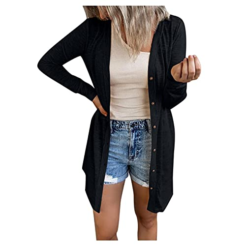 Sweaters for Women, Womens Long Sleeve Open Front Cardigan Lightweight Coat Casual Fall Sweater Tops Soft with Pockets