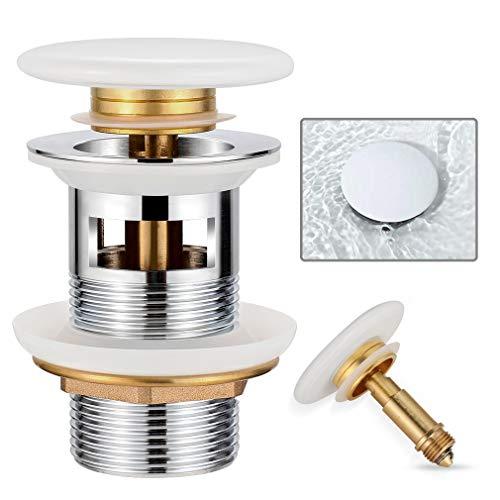Synlyn Universal Ablaufgarnitur mit Überlauf für Waschbecken & Waschtisch - Keramik Pop Up Ventil aus Messing Ablaufventil Click Clack Waschbeckenstöpsel Abflussgarnitur - Weiß