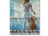 ZLLZY DIY Malen Nach Zahlen Mädchen Hält Eine Geige Auf Dem Balkon Gemälde Nach Zahlen Mit Bausätzen 16X20 Zoll (Rahmenlos)