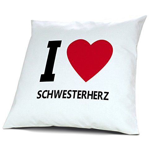 """Kopfkissen Schwesterherz, Kissen mit Füllung """"I Love Schwesterherz"""", 40 cm, 100% Baumwolle, Kuschelkissen, Liebeskissen, Namenskissen, Geschenkidee"""