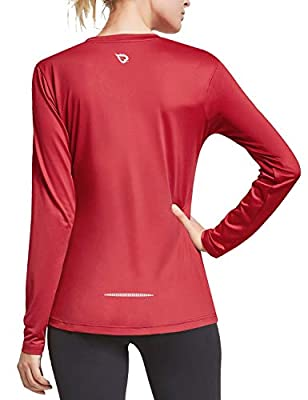 BALEAF Women's V Neck Long Sleeve Hiking UV Shirts Athletic Training Activewear Tops Dry Fit Ourdoor T-Shirts Red L