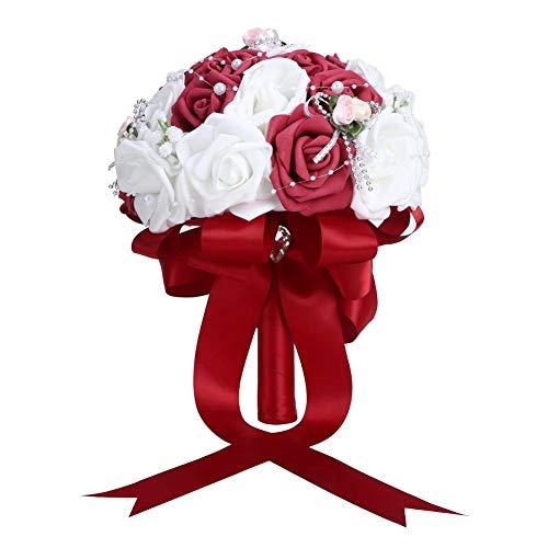 TOPINCN Bouquet da Sposa Artificiale Bouquet da Sposa Sposa Bouquet da Damigella Simulazione Abiti da Sposa Decorazione Floreale Forniture per Matrimoni(Vino Rosso)