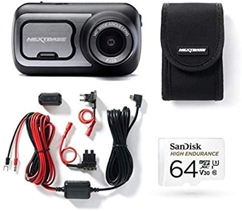 Nextbase 422GW Dash Cam, Hard Wiring Kit with Class 10 U3 64GB SD Card and Case included - Full 1440p/30fps HD In Car Camera- Wifi-Bluetooth-GPS- Intelligent Parking- Alexa Built-in Bundle Kit