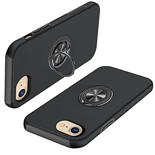 iPhone SE ケース 第2世代 iPhone8 ケース iPhone7 ケース リング付き pc+tpu 耐衝撃 一体型 携帯カバー アイフォン 7/SE /8 ケース 指紋防止 360°回転 スタンド機能 車載ホルダー対応 人気 衝撃吸収 傷つけ防止 ケース ブラック