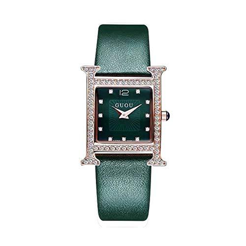 DAZHE Relojes militares Relojes de pulsera de cuar Modelo cuadrado cáscara temperamento salvaje de diamantes reloj de cuarzo correa de cuero impermeable relojes relojes de señora Reloj para la