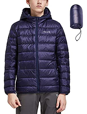 BALEAF Youth/Boy's Lightweight Water-Resistant Packable Puffer Hooded Down Jacket Outdoor Windproof Winter Coat Purple L