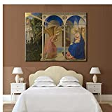 Pintura del período del Renacimiento europeo Angelico Fra The Annunciation Pintura en lienzo impresa digital Arte de la pared Cuadros Decoración70x70 cm x1 Sin marco