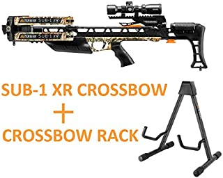 Mission Crossbow Sub-1 XR Realtree Edge Hunting Pro Package Kit with Crossbow Rack Bundle   Scope, Quiver, 19