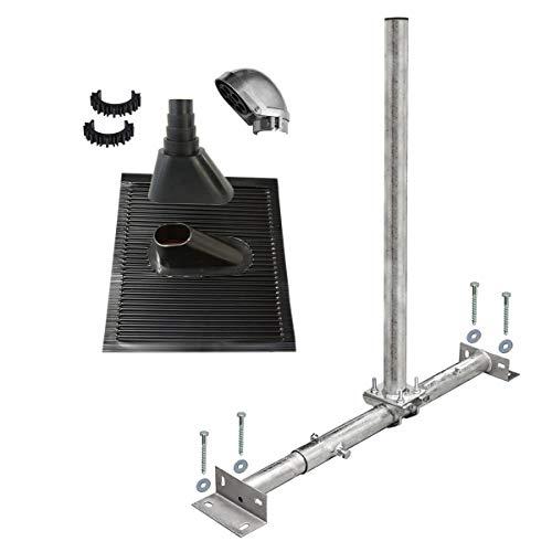 PremiumX Dachsparrenhalter Satellitenschüssel Montage Set Sparrenhalter feuerverzinkt ALU-Dachziegel schwarz SAT Mastkappe