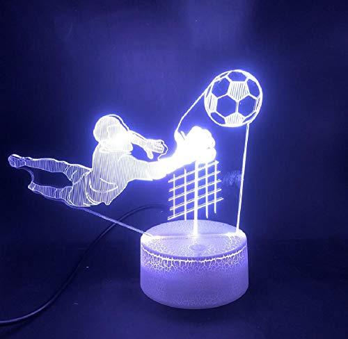 3D LED mando a distancia ópticas luces Illusion Portero de fútbol Deporte El mejor regalo para niños Sensor táctil Lámpara interior Mesita de noche Base brillante Luz nocturna