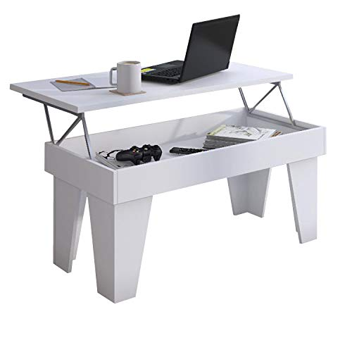 SelectionHome - Mesa de centro elevable, mesita de salón comedor, Modelo KL, acabado en Blanco Mate, medidas: 92 cm (ancho) x 45/57 cm (alto) x 50 cm (fondo)