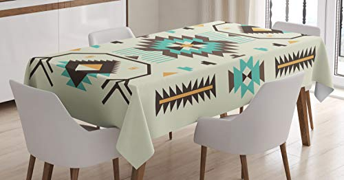 "Ambesonne Southwestern Tablecloth, Ethnic Illustration of a Zigzags Design Triangular Iconic Artwork Motifs, Rectangular Table Cover for Dining Room Kitchen Decor, 60"" X 90"", Pale Yellow"